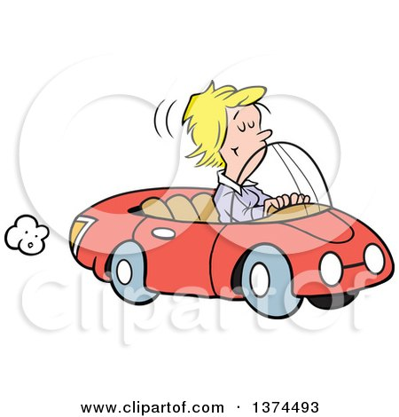 Cartoon Clipart of a Blond White Woman Cruising in Her Red Convertible Car - Royalty Free Vector Illustration by Johnny Sajem