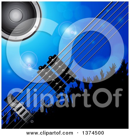 Clipart of a Background of 3d Electric Guitar Strings, a Music Speaker and Silhouetted Concert Crowd over Blue with Flares - Royalty Free Vector Illustration by elaineitalia
