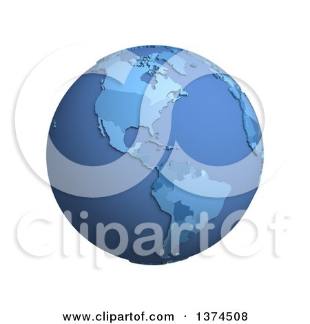 Clipart of a 3d Blue Political Globe with Extruded Countries, Centered on the Americas, on a White Background - Royalty Free Illustration by Michael Schmeling