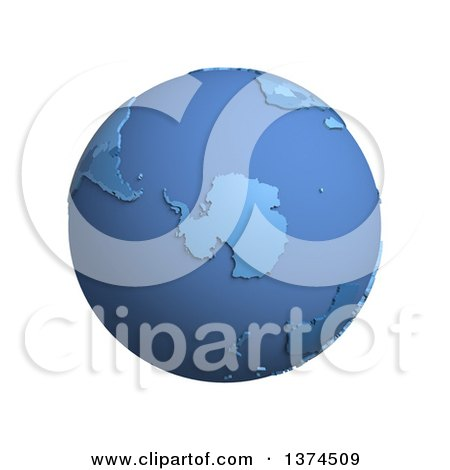 Clipart of a 3d Blue Political Globe with Extruded Countries, Centered on Antarctica, on a White Background - Royalty Free Illustration by Michael Schmeling