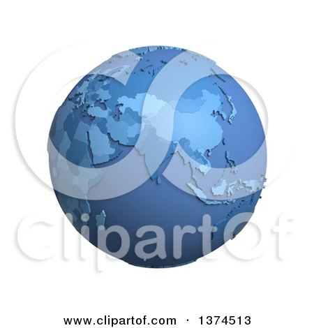 Clipart of a 3d Blue Political Globe with Extruded Countries, Centered on India, on a White Background - Royalty Free Illustration by Michael Schmeling