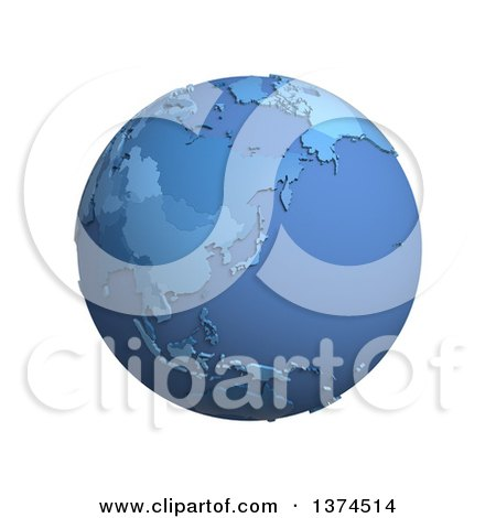 Clipart of a 3d Blue Political Globe with Extruded Countries, Centered on Japan, on a White Background - Royalty Free Illustration by Michael Schmeling