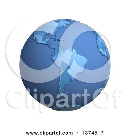 Clipart of a 3d Blue Political Globe with Extruded Countries, Centered on South America, on a White Background - Royalty Free Illustration by Michael Schmeling