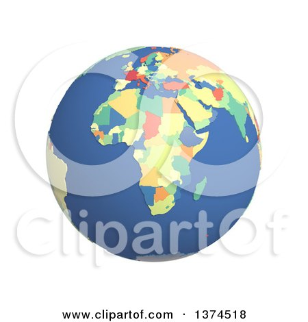 Clipart of a 3d Political Globe with Colored and Extruded Countries, Centered on Africa, on a White Background - Royalty Free Illustration by Michael Schmeling