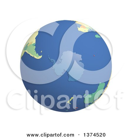 Clipart of a 3d Political Globe with Colored and Extruded Countries, Centered on Antarctica, on a White Background - Royalty Free Illustration by Michael Schmeling