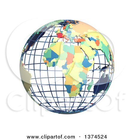 Clipart of a 3d Political Wire Globe with Colored and Extruded Countries, Centered on Africa, on a White Background - Royalty Free Illustration by Michael Schmeling