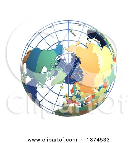 Clipart of a 3d Political Wire Globe with Colored and Extruded Countries, Centered on the North Pole, on a White Background - Royalty Free Illustration by Michael Schmeling