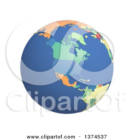 Clipart of a 3d Political Globe with Colored and Extruded Countries, Centered on North America, on a White Background - Royalty Free Illustration by Michael Schmeling
