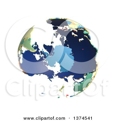 Clipart of a Political Globe with Colorful 3d Extruded Countries, Centered on Antarctica, on a White Background - Royalty Free Illustration by Michael Schmeling