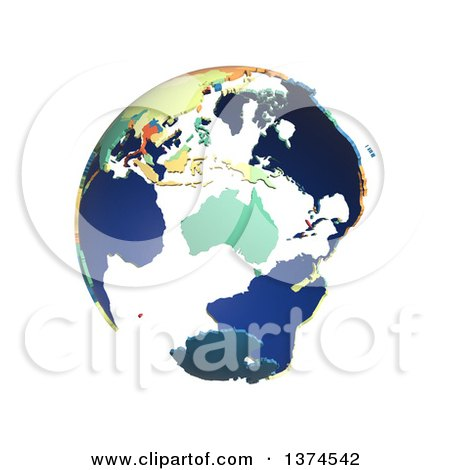 Clipart of a Political Globe with Colorful 3d Extruded Countries, Centered on Australia, on a White Background - Royalty Free Illustration by Michael Schmeling