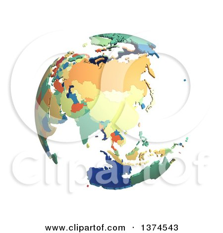 Clipart of a Political Globe with Colorful 3d Extruded Countries, Centered on China, on a White Background - Royalty Free Illustration by Michael Schmeling