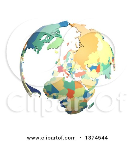 Clipart of a Political Globe with Colorful 3d Extruded Countries, Centered on Europe, on a White Background - Royalty Free Illustration by Michael Schmeling