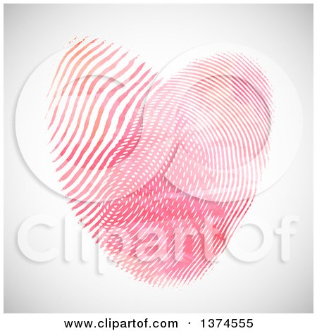 Clipart of a Heart Made of Fingerprints, over Shading - Royalty Free Vector Illustration by KJ Pargeter