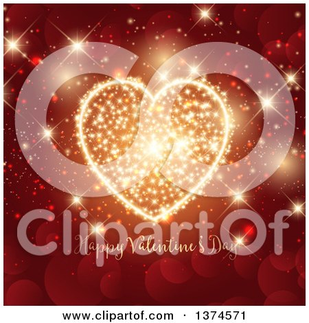 Clipart of a Happy Valentines Day Greeting with a Gold Sparkle Firework Heart over Red Bokeh Flares - Royalty Free Vector Illustration by KJ Pargeter