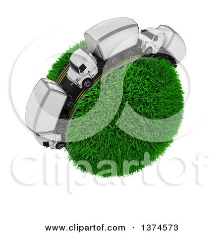Clipart of a 3d Busy Highway with Big Rig Trucks Around a Grassy Planet, on White - Royalty Free Illustration by KJ Pargeter
