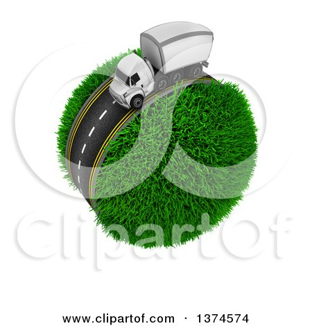 Clipart of a 3d Highway with a Big Rig Truck Around a Grassy Planet, on White - Royalty Free Illustration by KJ Pargeter