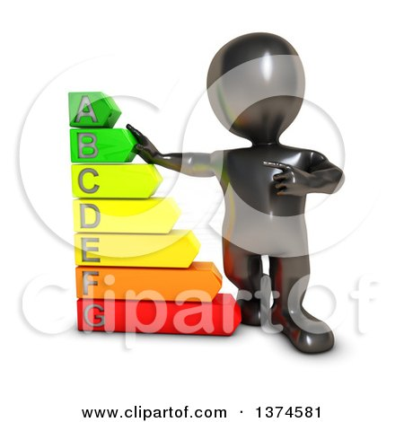 Clipart of a 3d Black Man with a Giant Energy Rating Chart, on a White Background - Royalty Free Illustration by KJ Pargeter