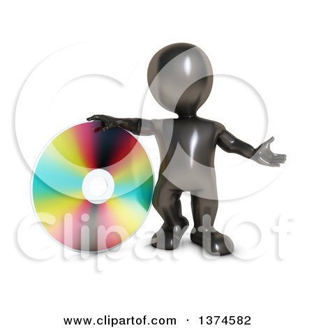 Clipart of a 3d Black Man Presenting and Leaning on a Cd or Dvd, on a White Background - Royalty Free Illustration by KJ Pargeter
