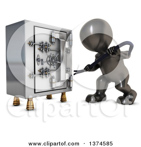 Clipart of a 3d Black Man Trying to Break Open a Safe Vault with a Crow Bar, on a White Background - Royalty Free Illustration by KJ Pargeter