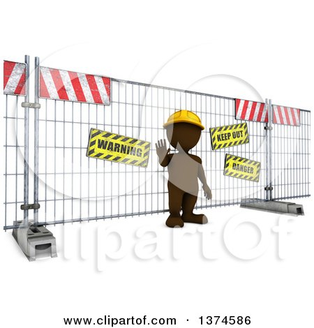 Clipart of a 3d Brown Man at a Construction Barrier,, on a White Background - Royalty Free Illustration by KJ Pargeter