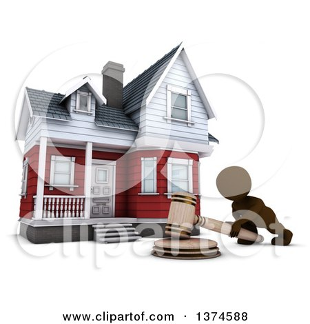 Clipart of a 3d Brown Man Banging a Gavel in Front of a House up for Auction, on a White Background - Royalty Free Illustration by KJ Pargeter