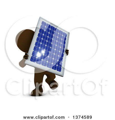 Clipart of a 3d Brown Man Holding a Solar Panel, on a White Background - Royalty Free Illustration by KJ Pargeter
