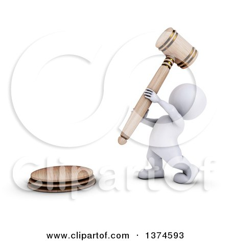Clipart of a 3d White Man Auctioneer or Judge Banging a Giant Gavel, on a White Background - Royalty Free Illustration by KJ Pargeter