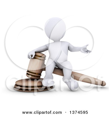Clipart of a 3d White Man Auctioneer or Judge Sitting on a Giant Gavel, on a White Background - Royalty Free Illustration by KJ Pargeter