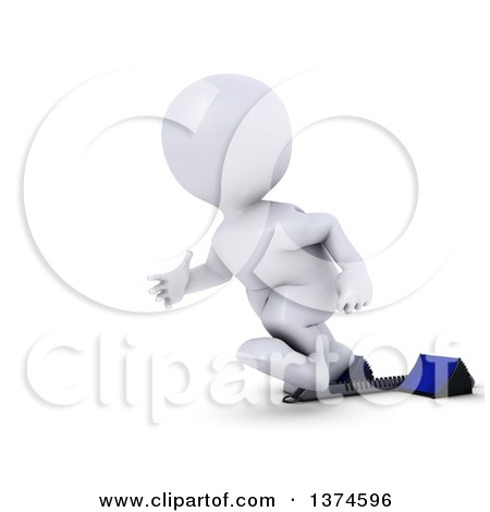 Clipart of a 3d White Man Sprinter Taking off on Starting Blocks, on a White Background - Royalty Free Illustration by KJ Pargeter