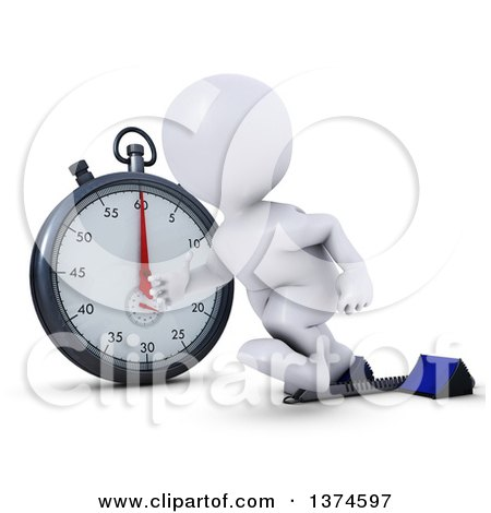 Clipart of a 3d White Man Runner Taking off on Starting Blocks by a Giant Stop Watch, on a White Background - Royalty Free Illustration by KJ Pargeter