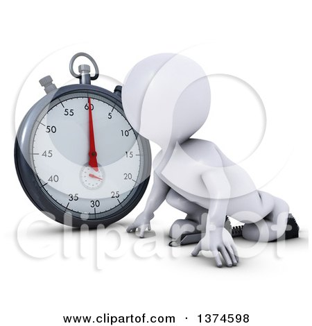 Clipart of a 3d White Man Runner on Starting Blocks by a Giant Stop Watch, on a White Background - Royalty Free Illustration by KJ Pargeter