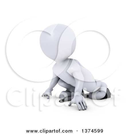 Clipart of a 3d White Man Runner on Starting Blocks, on a White Background - Royalty Free Illustration by KJ Pargeter