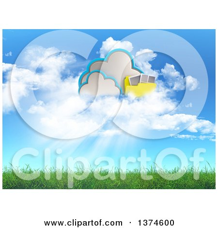 Clipart of a 3d Cloud and Folder Storage Design over Grass and Blue Sky - Royalty Free Illustration by KJ Pargeter