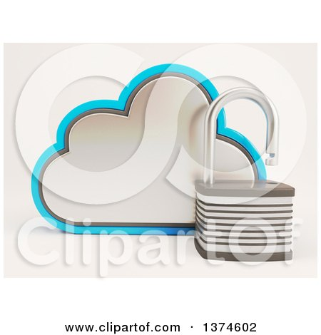 Clipart of a 3d Cloud Icon with an Open Padlock, on Shaded White - Royalty Free Illustration by KJ Pargeter