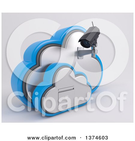 Clipart of a 3d White HD CCTV Security Surveillance Camera Mounted on Cloud Icon with a Filing Cabinet, on off White - Royalty Free Illustration by KJ Pargeter