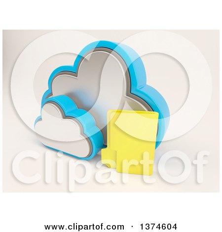 Clipart of a 3d Cloud Icon with a Folder, on off White - Royalty Free Illustration by KJ Pargeter