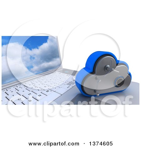 Clipart of a 3d Cloud Drive Safe Vault Icon Resting on a Laptop Computer with a Sky Screen Saver, on White - Royalty Free Illustration by KJ Pargeter