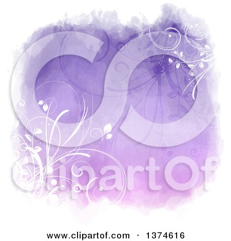 Clipart of a Purple Watercolor Floral Background Design with White Borders - Royalty Free Illustration by KJ Pargeter