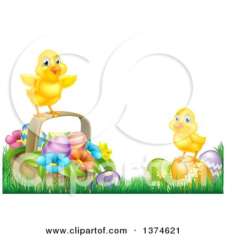 Clipart of Cute Yellow Chicks on Easter Eggs and a Basket in the Grass, over White Text Space - Royalty Free Vector Illustration by AtStockIllustration