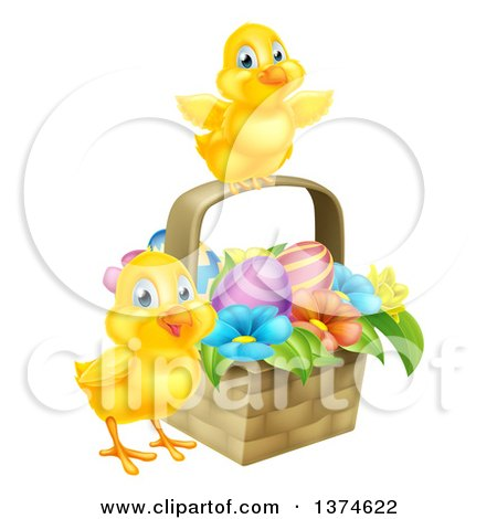 Clipart of Cute Yellow Chicks with an Easter Basket of Eggs and Flowers - Royalty Free Vector Illustration by AtStockIllustration