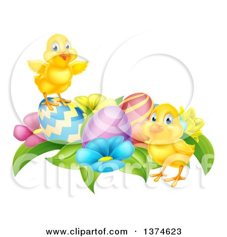 Clipart of Cute Yellow Chicks with Easter Eggs and Flowers - Royalty Free Vector Illustration by AtStockIllustration