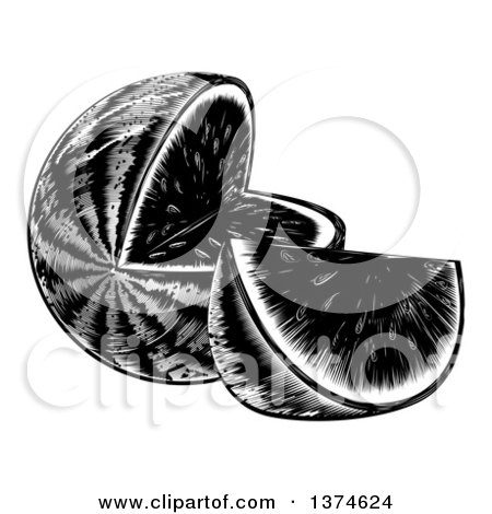 Clipart of a Black and White Vintage Woodcut Watermelon with a Wedge - Royalty Free Vector Illustration by AtStockIllustration
