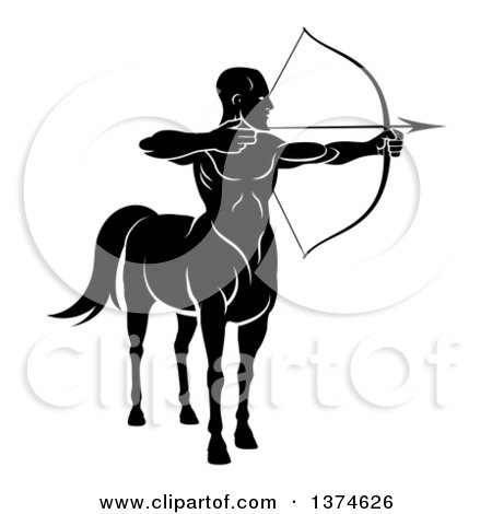 Clipart of a Black and White Centaur Archer Aiming to the Right - Royalty Free Vector Illustration by AtStockIllustration