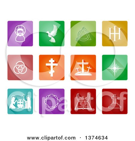 Clipart of White Christian Icons on Colorful Tiles - Royalty Free Vector Illustration by AtStockIllustration