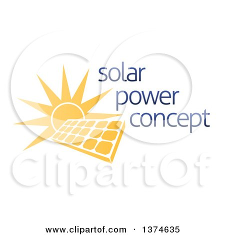 Clipart of a Sun Shining Behind a Solar Panel Photovoltaics Cell and Sample Text - Royalty Free Vector Illustration by AtStockIllustration