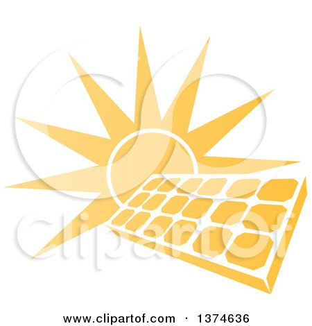 Clipart of a Sun Shining Behind a Solar Panel Photovoltaics Cell - Royalty Free Vector Illustration by AtStockIllustration