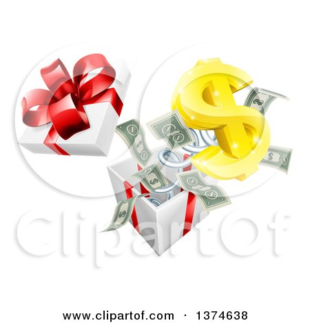 Clipart of a 3d Gold Dollar Currency Symbol and Cash Money Popping out of a Gift Box - Royalty Free Vector Illustration by AtStockIllustration