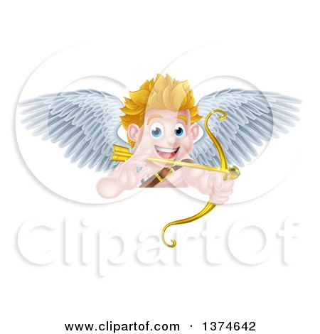 Clipart of a Happy Blond Caucasian Valentines Day Cupid Aiming a Gold Heart Arrow with His Bow over a Sign - Royalty Free Vector Illustration by AtStockIllustration