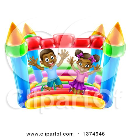 Clipart of a Cartoon Happy Black Boy and Girl Jumping on a Bouncy House Castle at a Party - Royalty Free Vector Illustration by AtStockIllustration