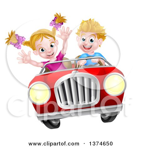 Clipart of a Blond White Boy Driving a Girl in a Red Convertible Car, Catching Air - Royalty Free Vector Illustration by AtStockIllustration